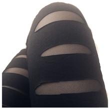 大码网bx拼接划痕打zx洞黑色打底裤薄式外穿弹力裤个性女裤