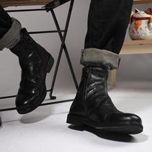 新品英bx复古真皮套zx男街头潮流马丁靴日系百搭做旧高帮皮鞋