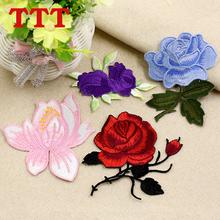 [byamc]彩色刺绣玫瑰花朵布贴衣服