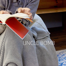 北欧搭by床沙发毯灰nl毛线单的搭巾纯色针织毯毛毯床毯子铺毯
