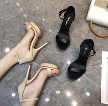 夏季欧bz真皮一字扣xw台高跟鞋凉鞋女细跟简约黑色裸色性感
