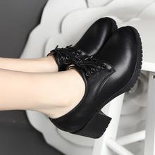 足意尔bz2020春xw式高跟女单鞋真皮中跟粗跟深口系带工作女鞋