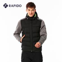 RAPbzDO 雳霹xw季男士拼接连帽背面抓绒运动休闲羽绒服外套