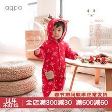 aqpbz新生儿棉袄xw冬新品新年(小)鹿连体衣保暖婴儿前开哈衣爬服