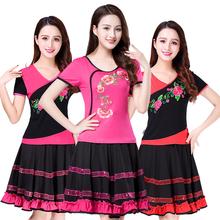 广场舞bz装新式绣花xw装中老年民族风舞蹈服演出服裙子夏装女