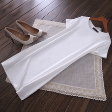 夏季新bz纯棉修身显xw韩款中长式短袖白色T恤女打底衫连衣裙