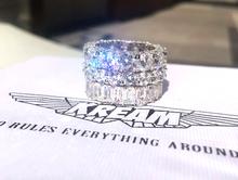 KREbzM icedjt ring S925纯银镀白金闪钻锆石戒指男女情侣戒指
