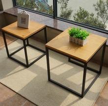 包邮铁bz方桌复古实vu沙发边几(小)方桌做旧角几简约架