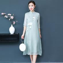 禅意茶c3民族中国风3o良旗袍连衣裙文艺宽松茶艺师服装女春夏