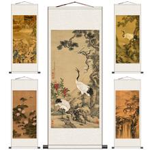 仙鹤卷轴挂画卧室客厅装饰