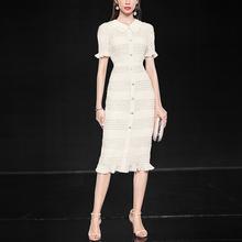 白色雪ca长裙气质修mu短袖显瘦中长式连衣裙女装2020新式夏季