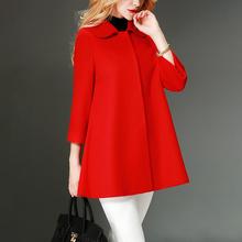 2020年ca2式红色羊ea衣女中长式(小)个子毛呢外套非羊绒短式