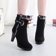 冬季新ca老北京布鞋ea女棉靴 民族式中国风刺绣子 女棉鞋