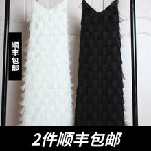 春季2ca20新式女ef雪纺V领大码蕾丝性感流苏羽毛吊带连衣裙