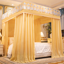 床帘蚊ca遮光家用卧em式带支架加密加厚宫廷落地床幔防尘顶布