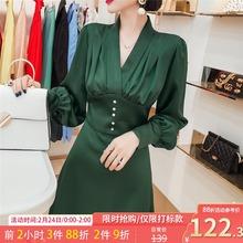 法式(小)众连衣裙长袖秋装ca82021si气质收腰修身显瘦长式裙子