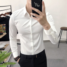 白衬衫ca长袖修身韩em帅气伴郎服装男士兄弟团新郎结婚礼服
