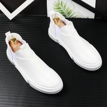 韩款白色中帮板ca男夏季套脚em青年百搭运动休闲鞋短靴皮靴子