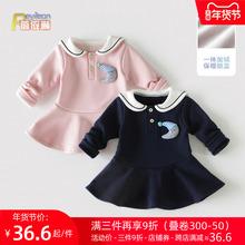 0-1ca3岁(小)童女em军风连衣裙子加绒婴儿秋冬装洋气公主裙韩款2