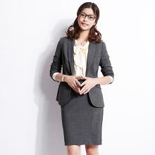 OFFcaY-SMAem试弹力灰色正装职业装女装套装西装中长式短式大码