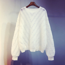 秋冬季ca020新式em空针织衫短式宽松白色打底衫毛衣外套上衣女