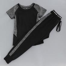 夏季新ca健身房运动hu袖宽松速干显瘦哈伦裤跑步服