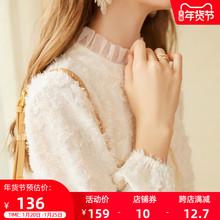 202ca秋冬季新式du女加绒蕾丝打底衫高领衬衫甜美内搭洋气上衣