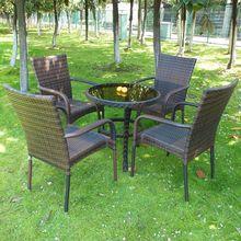 【特价ca正品户外休du桌椅藤条家具庭院铁艺桌椅茶几五件套