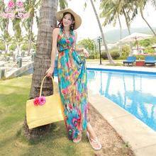 �鼋苄�ca冰丝波西米te印花长裙连衣裙吊带裙沙滩度假裙子