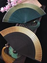 江户日ca日本和风折bi真丝女扇(小)花雕刻渐变空白扇金色绿