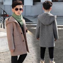 男童呢ca大衣202bi秋冬中长式冬装毛呢中大童网红外套韩款洋气