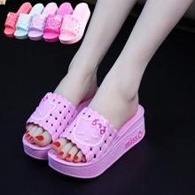 夏季女ca可爱松糕厚bi高跟居家凉拖鞋室内外浴室休闲一字拖鞋