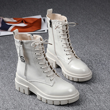 欧洲站ca020秋冬pt鞋真皮厚底白色马丁靴女百搭英伦风加绒短靴