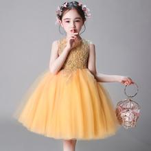 女童生ca公主裙宝宝ni(小)主持的钢琴演出服花童晚礼服蓬蓬纱冬