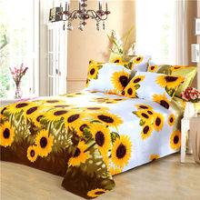 纯棉加ca老粗布布料te米2米订做床笠炕单向日葵床单被单夏凉布