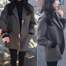 202ca秋冬新式宽techic加厚韩国复古格子羊毛呢(小)西装外套女