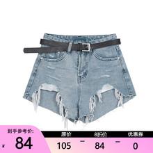 【限时ca折】破洞女te1夏式学院风裤子绑带毛边休闲热裤