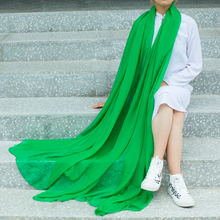 绿色丝ca女夏季防晒te巾超大雪纺沙滩巾头巾秋冬保暖围巾披肩