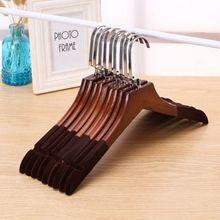 10个ca服装店复古ri架防滑植绒木质衣挂家用衣服架衣撑裤架子