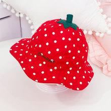 新生儿ca子草莓帽子an儿宝宝盆帽渔夫帽春秋遮阳帽女童新年潮
