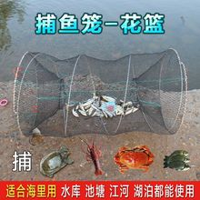 捕鱼笼ca篮折叠渔网ee子海用扑龙虾甲鱼黑笼海边抓(小)鱼网自动