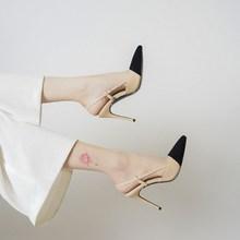 202ca夏季新品(小)lo头高跟鞋女细跟性感百搭显瘦单鞋包头凉鞋女