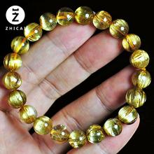 金发晶手串 巴西天然钛晶散珠黄ca12晶 三ol晶手链男女式