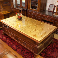 pvcca料印花台布ol餐桌布艺欧式防水防烫长方形水晶板茶几垫