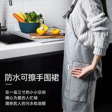 可擦手ca防水防油 pe饪做饭罩衣围腰厨房家务工作服 男女