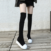 内增高过膝靴女(小)个子厚底ca9力瘦腿靴se显瘦绒面高筒靴加绒