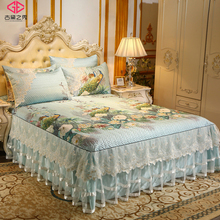 欧款蕾丝床裙凉ca冰丝席三件sp防滑床罩空调软席子可折叠水洗
