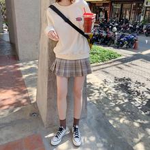 (小)个子高腰显瘦ca4褶奶茶格sp身裙女夏(小)清新学生迷你短裙子