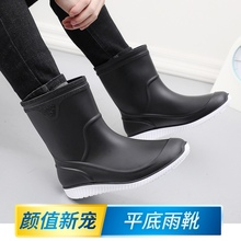 时尚水ca男士中筒雨te防滑加绒保暖胶鞋夏季雨靴厨师厨房水靴