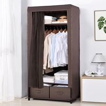 简易衣ca加粗加固钢te出租房用单的布艺组装布柜牛津布经济型